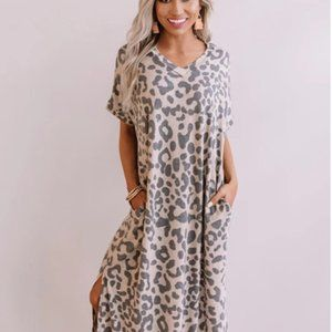 Charlotte Leopard V-Neck Maxi Shirt Dress